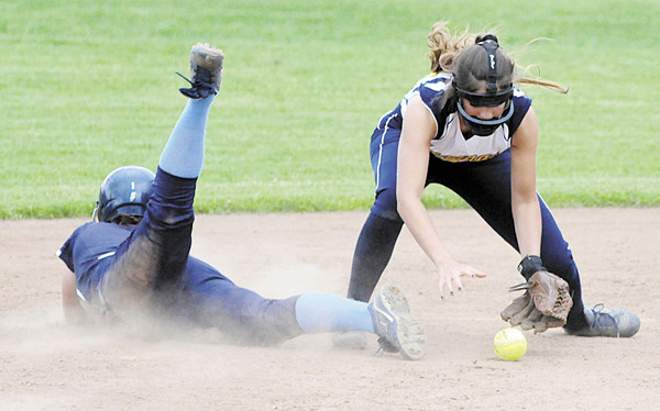 Shenango's Elizabeth Quahliero comes up short on the tag at second. — Tiffany Wolfe