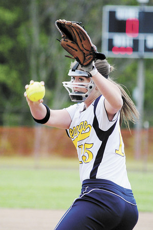 Shenango's Macy Rubin winds up. — Tiffany Wolfe