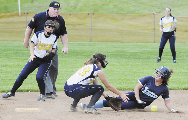 Shenango's Elizabeth Quahliero waits for the ball as a runner steals second. — Tiffany Wolfe