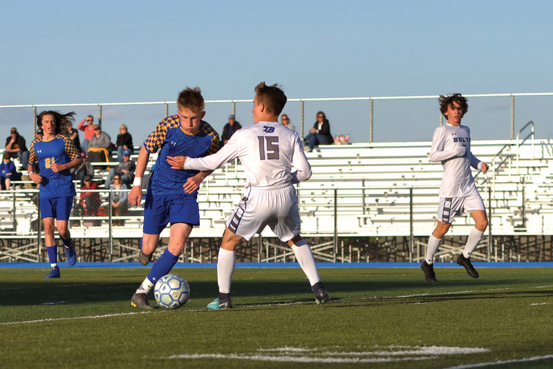 Matthew Gaston | The Sheridan Press<br>Sheridan's Carter Wells (13) is fouled early in the second half earning the Broncs a free kick against Thunder Basin at Homer Scott Field Friday, May 3, 2019. The Broncs lost 1-0.