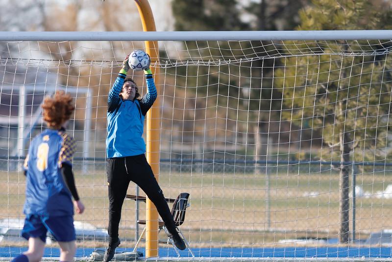 Matthew Gaston | The Sheridan Press<br>Sheridan's Sam Salyards (1) stops a shot from the top of the box against Laramie Friday, April 12, 2019. The Broncs beat the Laramie Plainsmen 3-nihil.