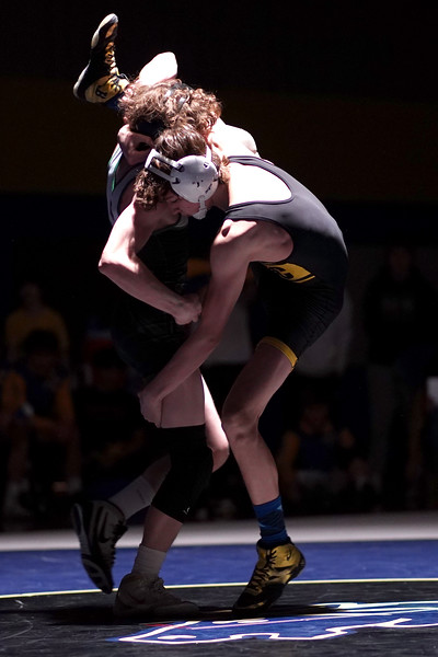 Matthew Gaston | The Sheridan Press<br>Sheridan's Landon Wood finds himself in a potentially bad situation during the dual against Kelly Walsh Thursday, Feb. 6, 2020.