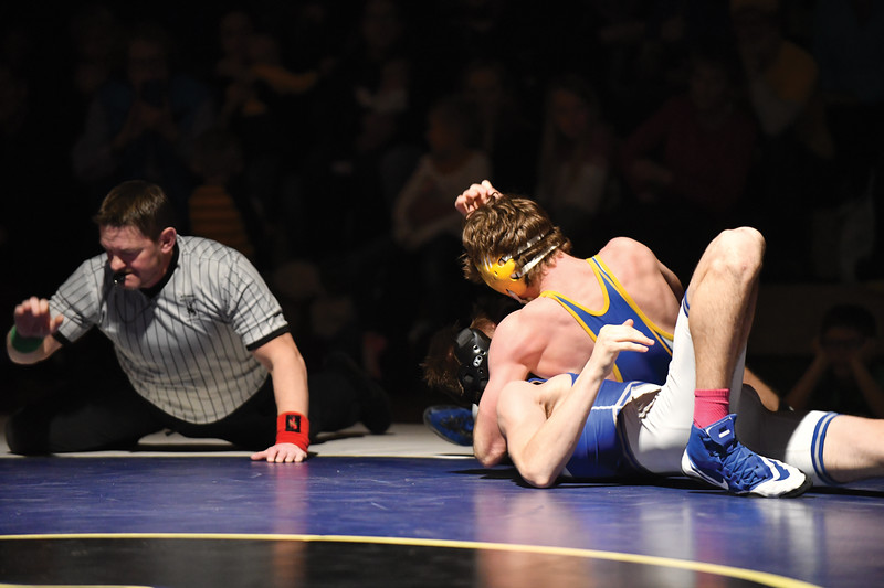 Matthew Gaston | The Sheridan Press<br>Sheridan's Quinn Heyneman dominated his opponent in the (152 pounds) weight class Friday, Feb. 8, 2019. Sherdian claimed a 39-38 victory over Thunder Basin.