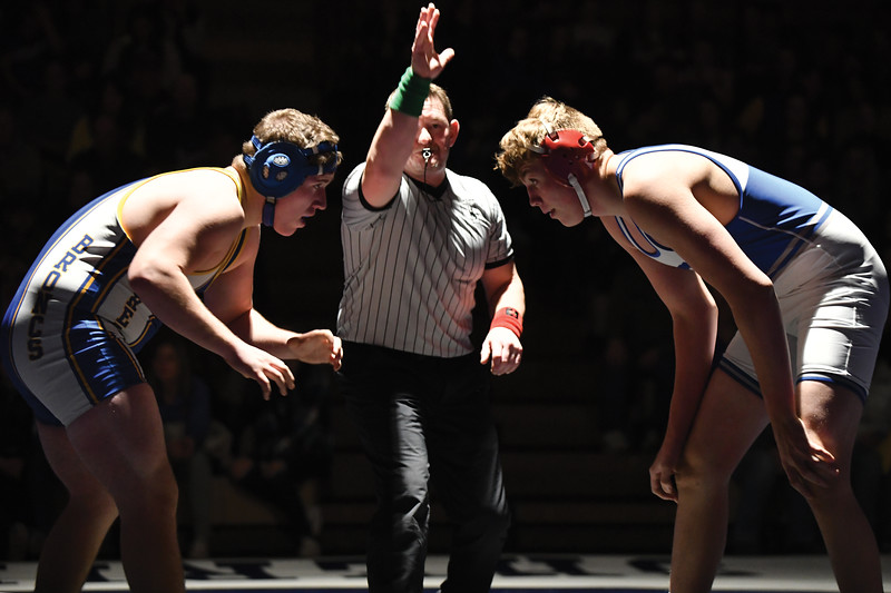 Matthew Gaston | The Sheridan Press<br>Sheridan's Ethan Johnson squares off with a much taller opponent from Thunder Basin Friday, Feb. 8, 2019.