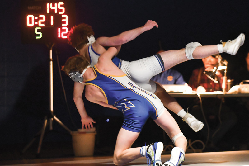 Matthew Gaston | The Sheridan Press<br>Late in the third round Sheridan's Brock Steel earns two points for a take down Friday, Feb. 8, 2019.