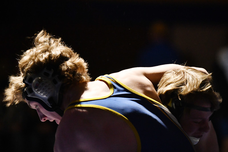 Matthew Gaston | The Sheridan Press<br>Sheridan's Quinton Mangus stuffs a take down attempt by his opponent from Thunder Basin Fraidy, Feb. 8, 2019.
