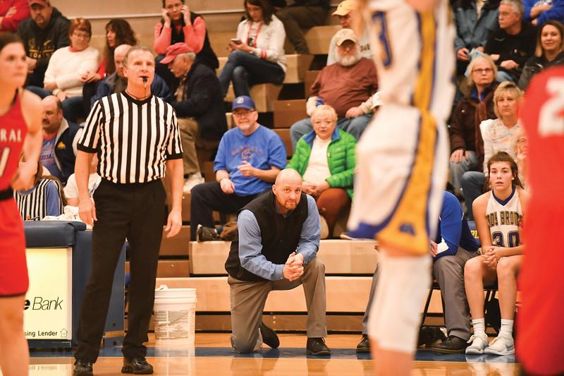 Matthew Gaston   The Sheridan Press<br>Sheridan High School's head coach Larry Ligocki surveys the game against Cheyenne Central Friday, Feb. 1, 2019.