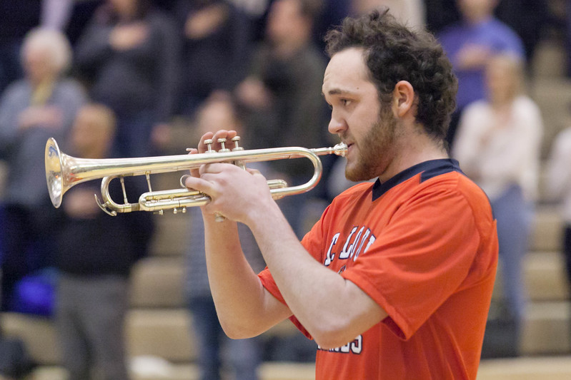 Tibby McDowell | The Sheridan Press<br /> <br /> Race Johnston played the Natioal Anthem on his trumpet at the beginning of the Sheridan Broncs basketball game at Sheridan High School Friday Feb. 9, 2018.