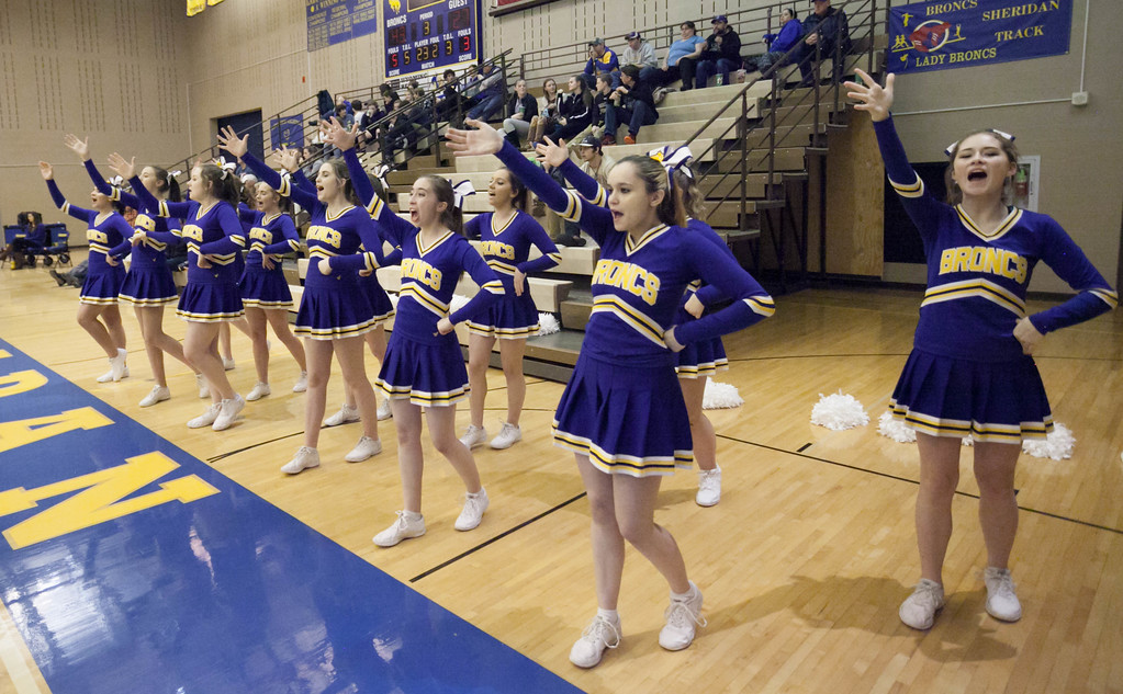 Tibby McDowell | The Sheridan Press<br /> <br /> The Sheridan High School Cheerleaders helped cheer on the Broncs against Cheyenne Central at Sheridan High School Friday Feb. 9, 2018.