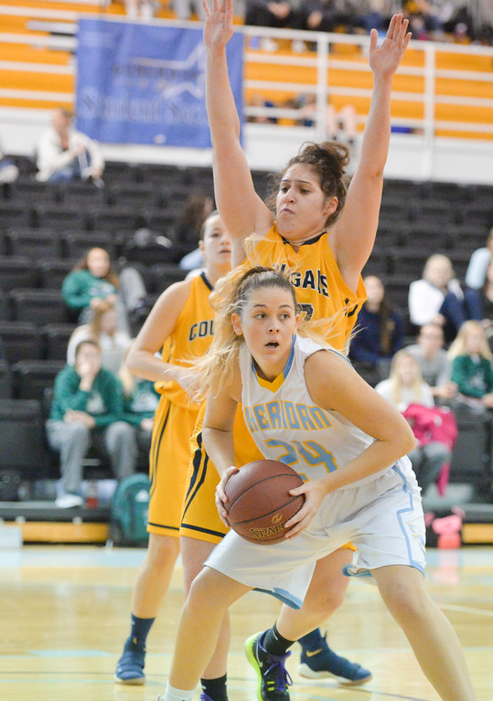 Justin Sheely | The Sheridan Press	<br /> Sheridan's Ashleigh Frampton looks for room against Western Nebraska Community College during the Holiday Inn Tournament Saturday at the Bruce Hoffman Golden Dome. The Lady Generals lost to the Lady Cougars 70-50.