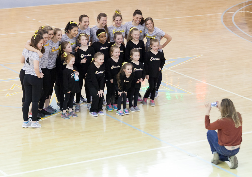 Tibby McDowell | The Sheridan Press<br /> Sheridan College Women's Soccer hosts a mini pom camp that performs during half-time of the men's basketball game at the Bruce Hoffman Golden Dome Saturday Feb. 24, 2018.