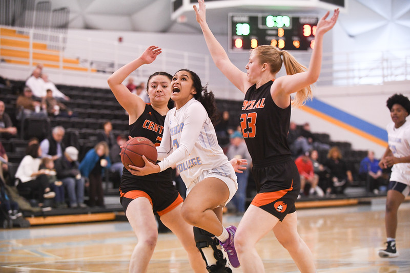 Matthew Gaston   The Sheridasn Press<br>Sheridan College's Tala Tuisavure (24) is fouled on her way to the basket during play against Central Wyoming College Saturday, Feb. 16, 2019.