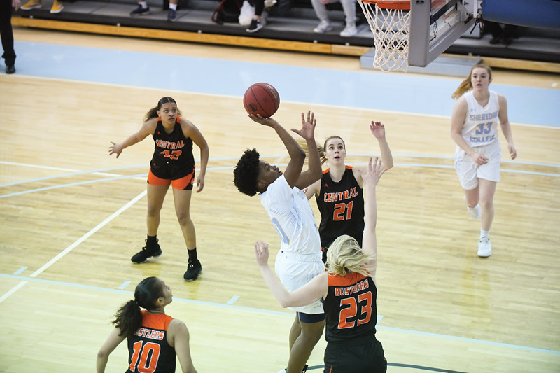 Matthew Gaston   The Sheridan Press<br>Sheridan College's Cynthia Green (30) scores two despite the double team from Central Wyoming College Saturday, Feb. 16, 2019.