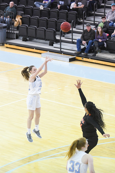 Matthew Gaston   The Sheridan Press<br>Sheridan College's Sara Oca (32) shoots and scores from way outside against Central Wyoming College Saturday, Feb. 16, 2019.