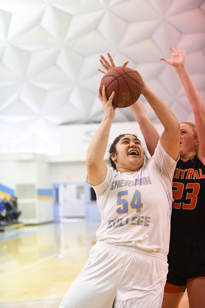 Matthew Gaston   The Sheridan Press<br>Sheridan College's Lani Taliauli (54) scores two from the paint against Central Wyoming College Saturday, Feb. 16, 2019.