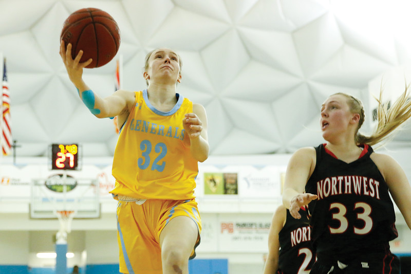 Matthew Gaston | The Sheridan Press<br>Sheridan College's Sara Oca (32) goes up for the layup against Northwest Wednesday, Feb. 6, 2019. The Lady Generals won 50-45.