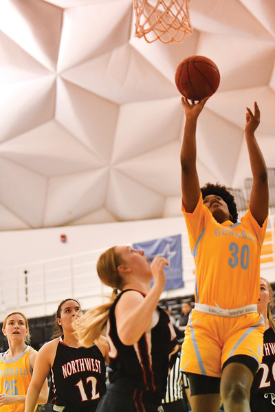 Matthew Gaston | The Sheridan Press<br>Sheridan College's Cynthia Green (30) goes up for the layup against Northwest Wednesday, Feb. 6, 2019.