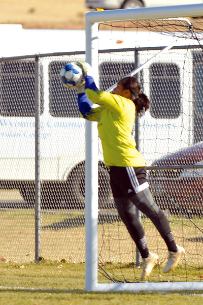 Joel Moline | The Sheridan Press<br /> Sheridan College's goalkeeper Karla Gaytan (0) saves a Trinidad State Junior College penalty kick Friday, Oct. 25, 2019.