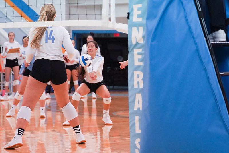 Matthew Gaston | The Sheridan Press<br>Sheridan College's Savanna Cox (8) makes the save after Casper College's Hailey Anderson spikes the ball Wednesday, Oct. 2, 2019.
