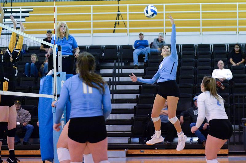 Joel Moline | The Sheridan Press<br /> Sheridan College's Keala Wright (3) spikes the ball against Eastern Wyoming College Saturday, Nov. 2, 2019.