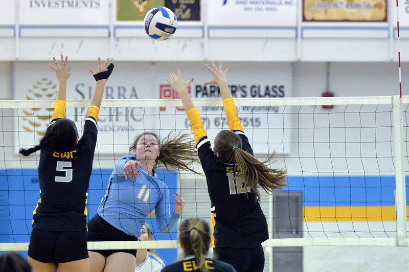 Joel Moline | The Sheridan Press<br /> Sheridan College's Cayl Bowman (11) spikes the ball against Eastern Wyoming College Saturday, Nov. 2, 2019.