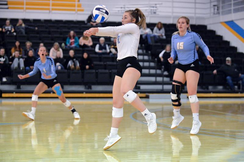 Joel Moline | The Sheridan Press<br /> Sheridan College's Alli Puuri (2) passes the ball against Eastern Wyoming College Saturday, Nov. 2, 2019.