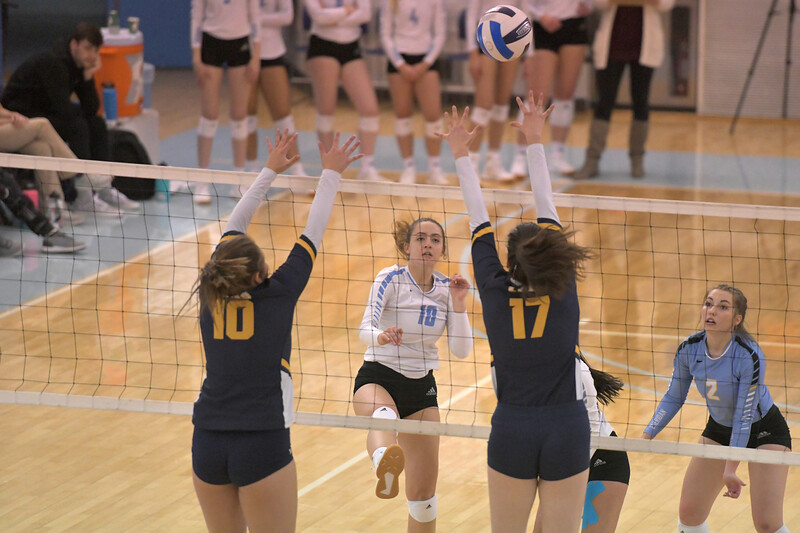 Matthew Gaston | The Sheridan Press<br>Sheridan College's Sidney Wilson (10) tips over Laramie County Community College's blockers Friday, Nov. 1, 2019. The Lady Generals lost in four sets.