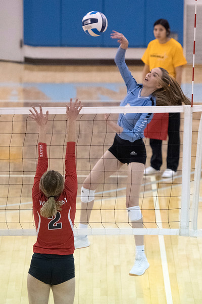 Joel Moline   The Sheridan Press<br /> Sheridan's College's Emily Baumstarck (9) spikes the ball against Northwestern College Thursday, Oct. 3, 2019.