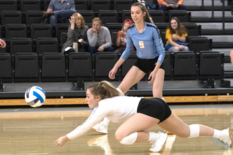 Joel Moline   The Sheridan Press<br /> Sheridan's College's Alli Puuri (2) dives to save the ball against Northwestern College Thursday, Oct. 3, 2019.