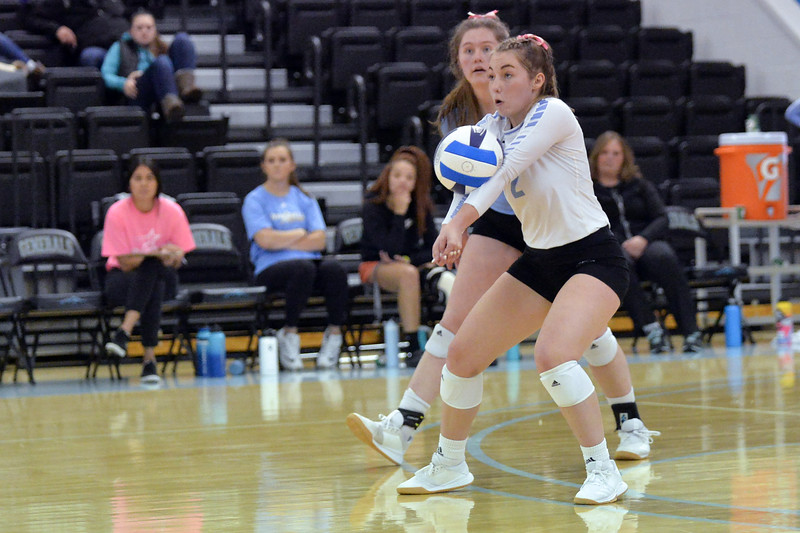 Joel Moline | The Sheridan Press<br /> Sheridan's College's Alli Puuri (2) receives a spike against Western Wyoming Saturday, Oct. 26, 2019.