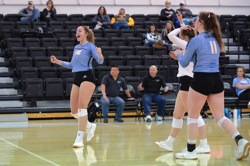 Joel Moline | The Sheridan Press<br /> Sheridan's College's Sidney Wilson (10) celebrates after the team scores a point against Western Wyoming Saturday, Oct. 26, 2019.
