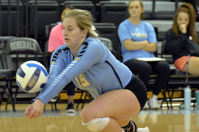 Joel Moline | The Sheridan Press<br /> Sheridan College's Darci Kaiser (15) records the dig against Western Wyoming, Saturday, Oct. 26, 2019.