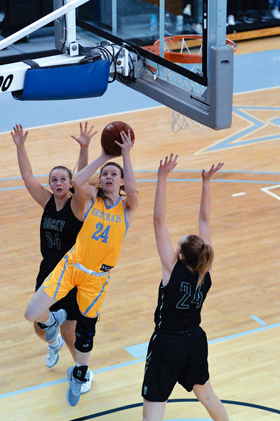 Joel Moline | The Sheridan Press<br /> Sheridan College's Madi Miller (24) scores two points against Rocky Mountain College Friday, Nov. 29, 2019.