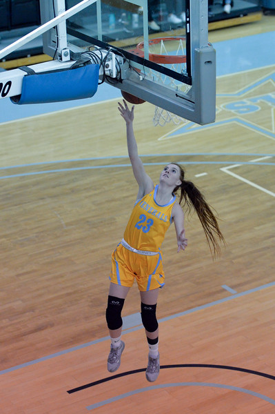 Joel Moline | The Sheridan Press<br /> Sheridan College's Darcy Walker (23) scores a layup against Rocky Mountain College, Friday, Nov. 29.