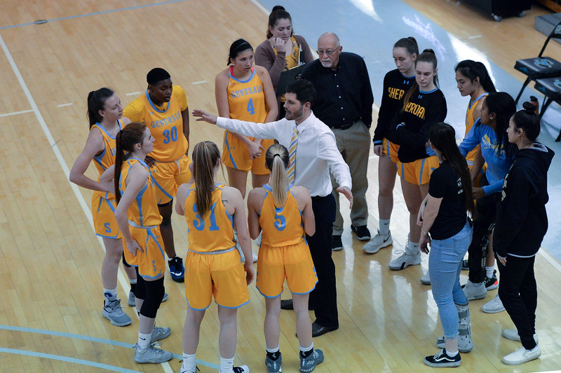 Joel Moline | The Sheridan Press<br /> Sheridan College's head basketball coach Ryan Davis addresses the team against Rocky Mountain College, Friday, Nov. 29.
