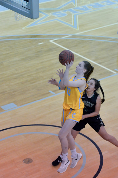 Joel Moline | The Sheridan Press<br /> Sheridan College's Sara Oca (32) scores against Rocky Mountain College, Friday, Nov. 29.