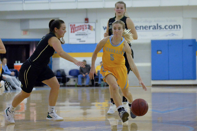 Joel Moline | The Sheridan Press<br /> Sheridan College's Haley McDermott (5) drives down the lane against Rocky Mountain College, Friday, Nov. 29.
