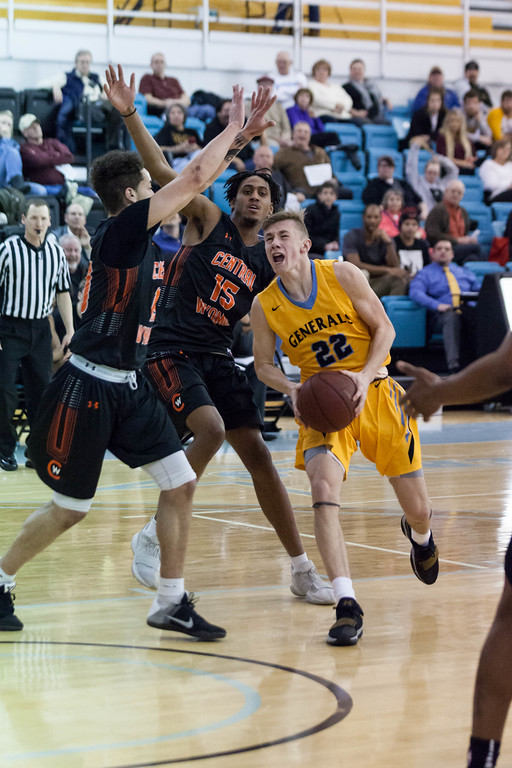 Tibby McDowell | The Sheridan Press<br /> <br /> Keenan Dowell charges to the basket against Central Wyoming College at Sheridan College on Wednesday, January 10, 2018.
