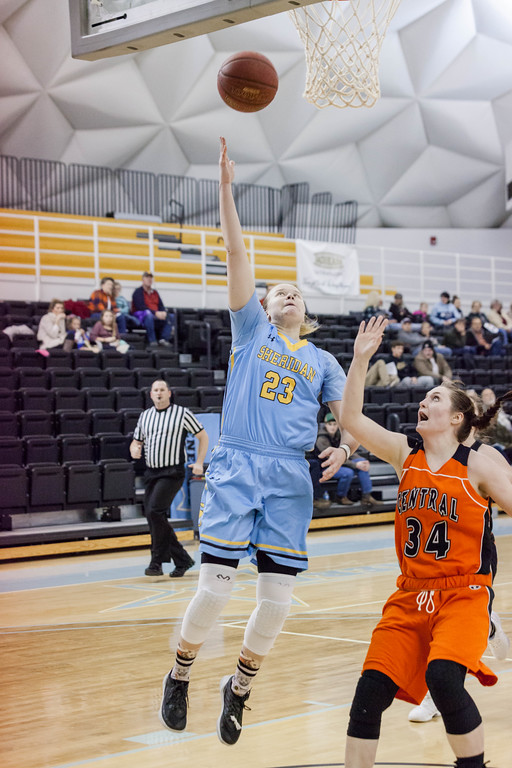 Tibby McDowell | The Sheridan Press<br /> <br /> Lady General Noora Parttimaa beat Central's Marissa Arnold to the basket at Sheridan College on Wednesday, January 10, 2018.