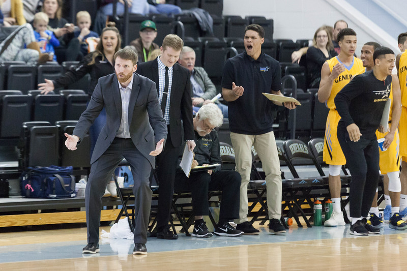 Tibby McDowell | The Sheridan Press<br /> <br /> Head coach Matt Hammer questions a call by the ref's during a game against the Central Wyoming College Rustlers at Sheridan College on Wednesday, January 10, 2018.