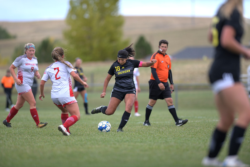 Matthew Gaston | The Sheridan Press<br>Sheridan College's Eyker Millan (18) dominated the mid-field, setting up plays and feeding her strikers with excellent passes during the Lady Generals 13-0 victory over Northwest College Saturday, Oct. 5, 2019.