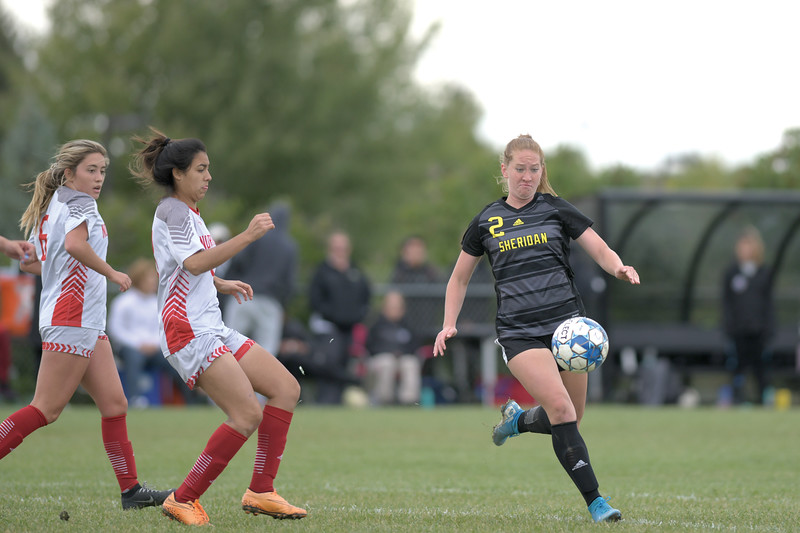Matthew Gaston | The Sheridan Press<br>Sheridan College's Margaret Hamilton (2) scored a hat trick against Northwest College at Maier Field Saturday, Oct. 5, 2019.