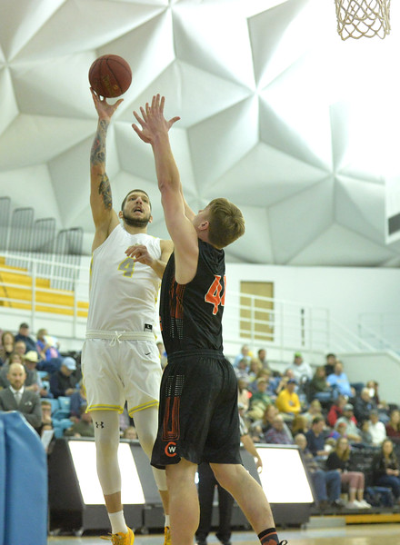 Bud Denega | The Sheridan Press<br /> Sheridan College's Sasa Vuksanovic rises for a shot during the Generals' game against Central Wyoming College at the Bruce Hoffman Golden Dome Saturday, Feb. 16, 2019.