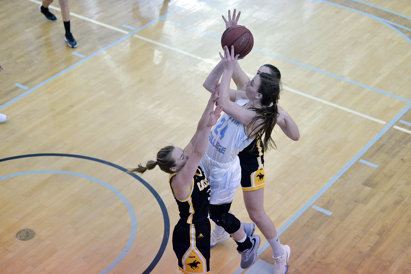 Joel Moline | The Sheridan Press<br /> Sheridan College's Maddison Roush (24) is fouled while attempting a layup against Eastern Wyoming College, Wednesday, Jan. 8, 2020.