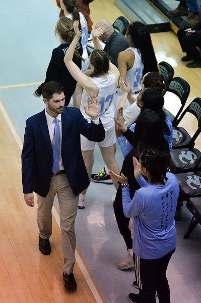 Joel Moline | The Sheridan Press<br /> Sheridan College's bench celebrates their win against Eastern Wyoming College, Wednesday, Jan. 8, 2020.