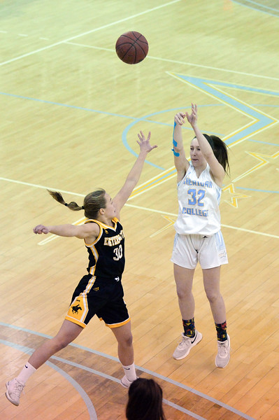 Joel Moline | The Sheridan Press<br /> Sheridan College's Sara Oca (32) makes a 3-pointer against Eastern Wyoming College, Wednesday, Jan. 8, 2020.