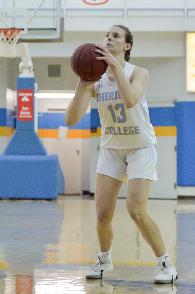 Joel Moline | The Sheridan Press<br /> Sheridan College's Julia Bartlett (13) makes a 3-pointer against Eastern Wyoming College, Wednesday, Jan. 8, 2020.