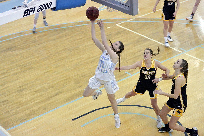 Joel Moline | The Sheridan Press<br /> Sheridan College's Julia Bartlett (13) drives in for a layup against Eastern Wyoming College, Wednesday, Jan. 8, 2020.