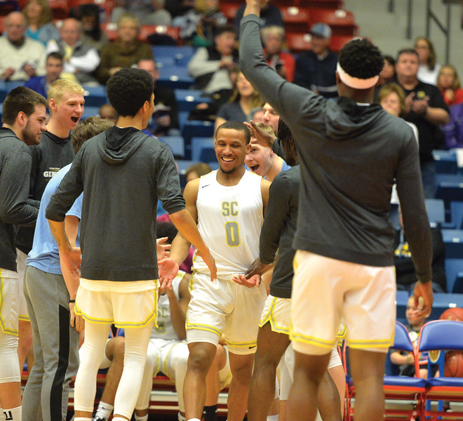 Bud Denega | The Sheridan Press<br /> Sheridan College's Josh Bagley gets introduced during the Generals' game against Kaskaskia College at the NJCAA tournament Monday, March 18, 2019.