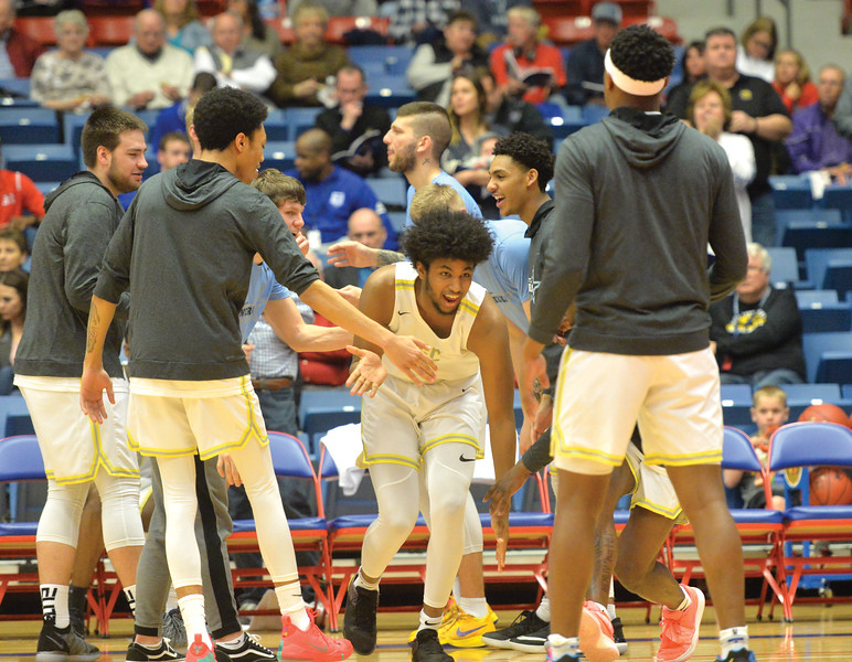 Bud Denega | The Sheridan Press<br /> Sheridan College's Adham Eleeda gets introduced during the Generals' game against Kaskaskia College at the NJCAA tournament Monday, March 18, 2019.